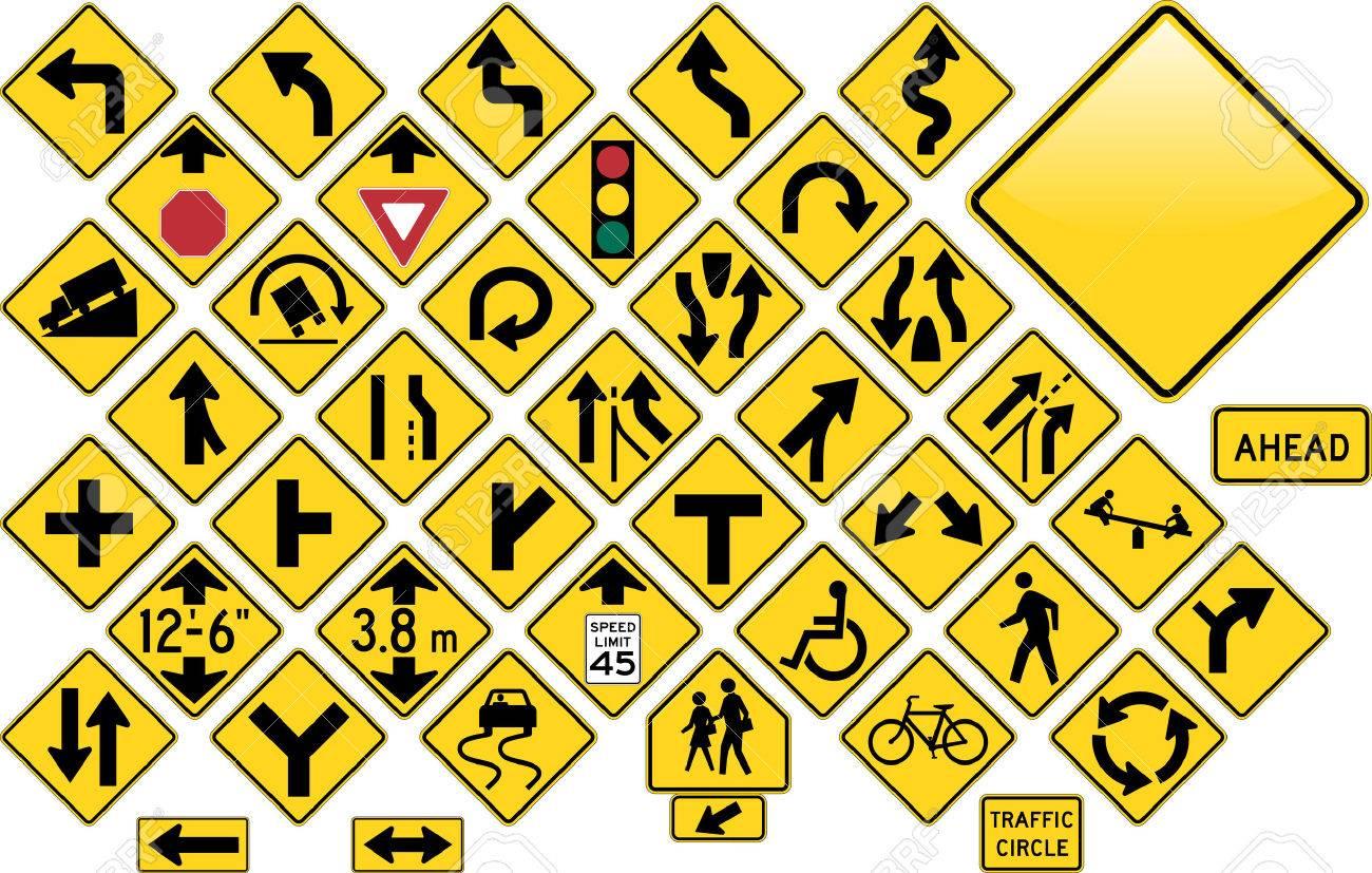 Road Sign Set - Warning Stock Vector - 4700614