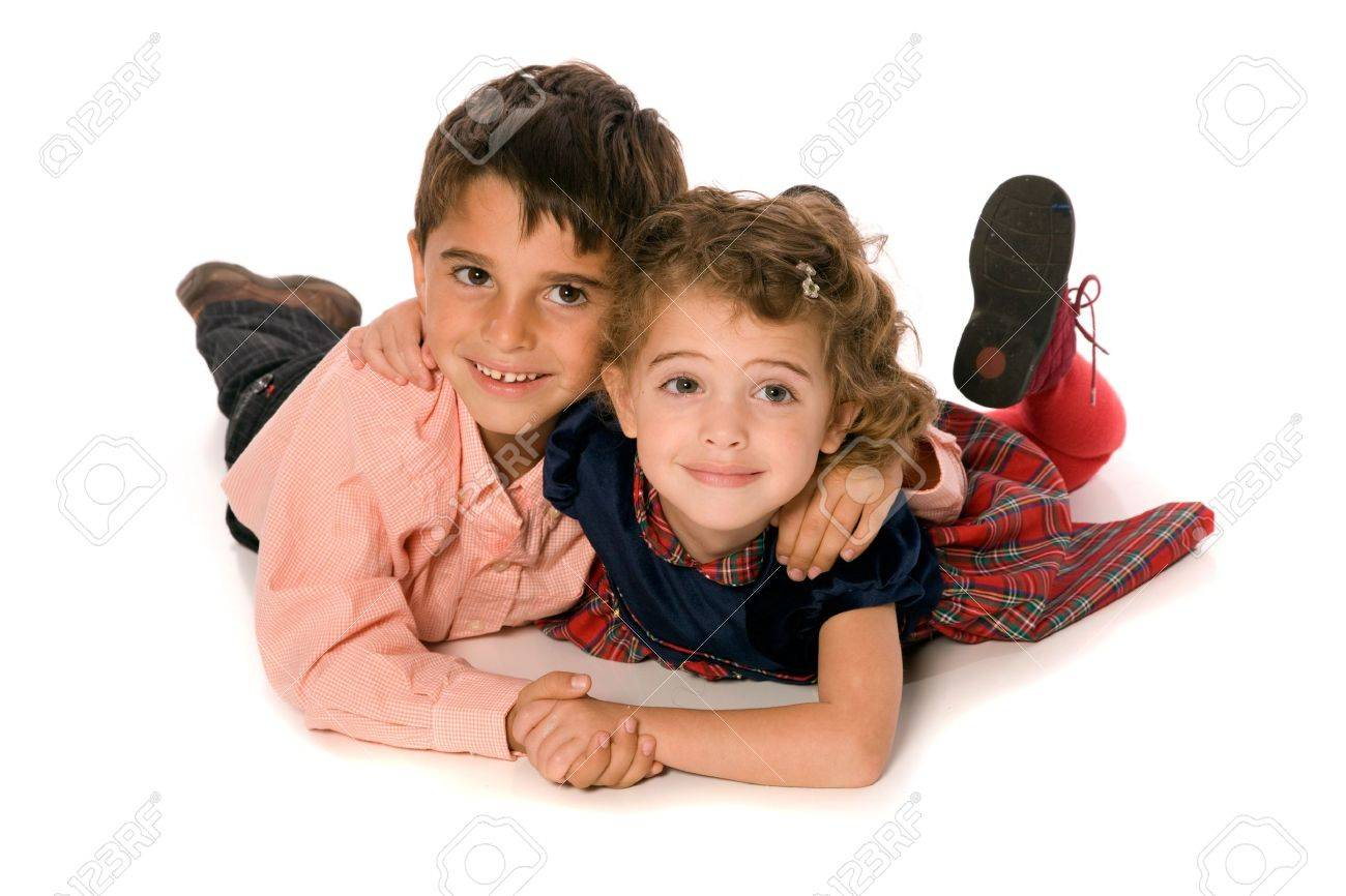 Brother and Sister on pure white background Stock Photo - 5791623