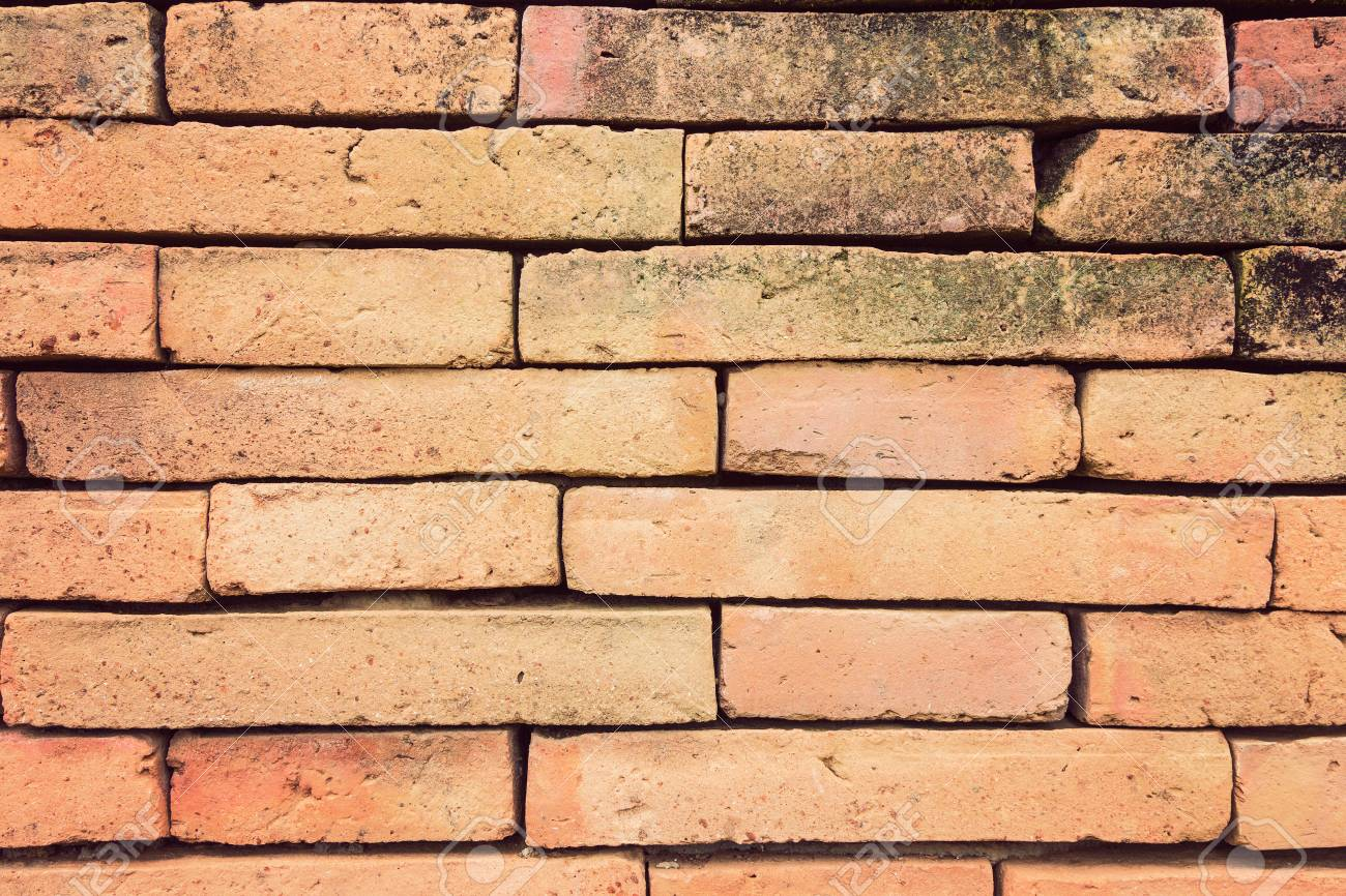 Straight On View Of Terracotta Brick Wall In Vintage Retro Color ...