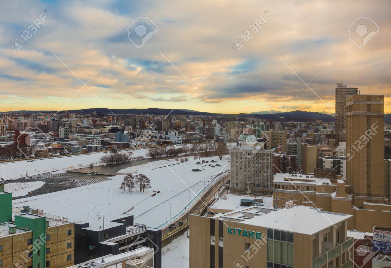 Otaru, Hokkaido, Japan - 30 December 2017 - View of city of Otaru