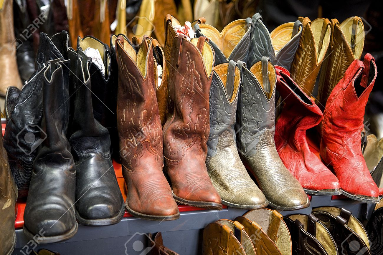 A Collection Of Cowboy Boots In Rows Stock Photo, Picture And ...