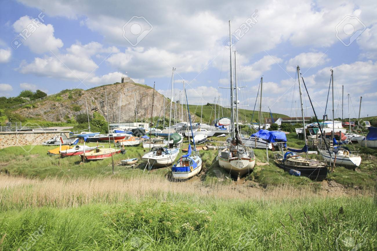 Boats along the river Axe Stock Photo - 20915273