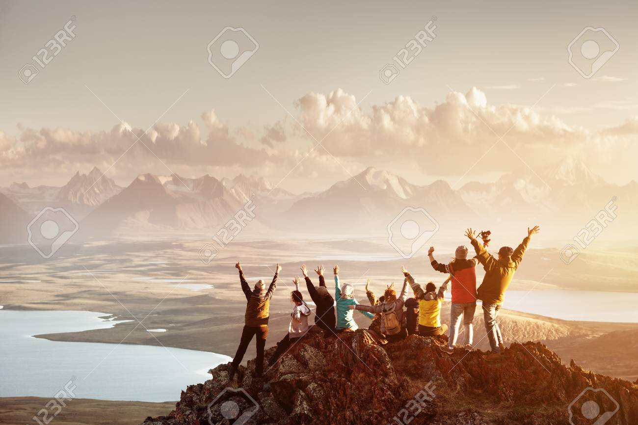 Big group of people success mountain top - 99123569