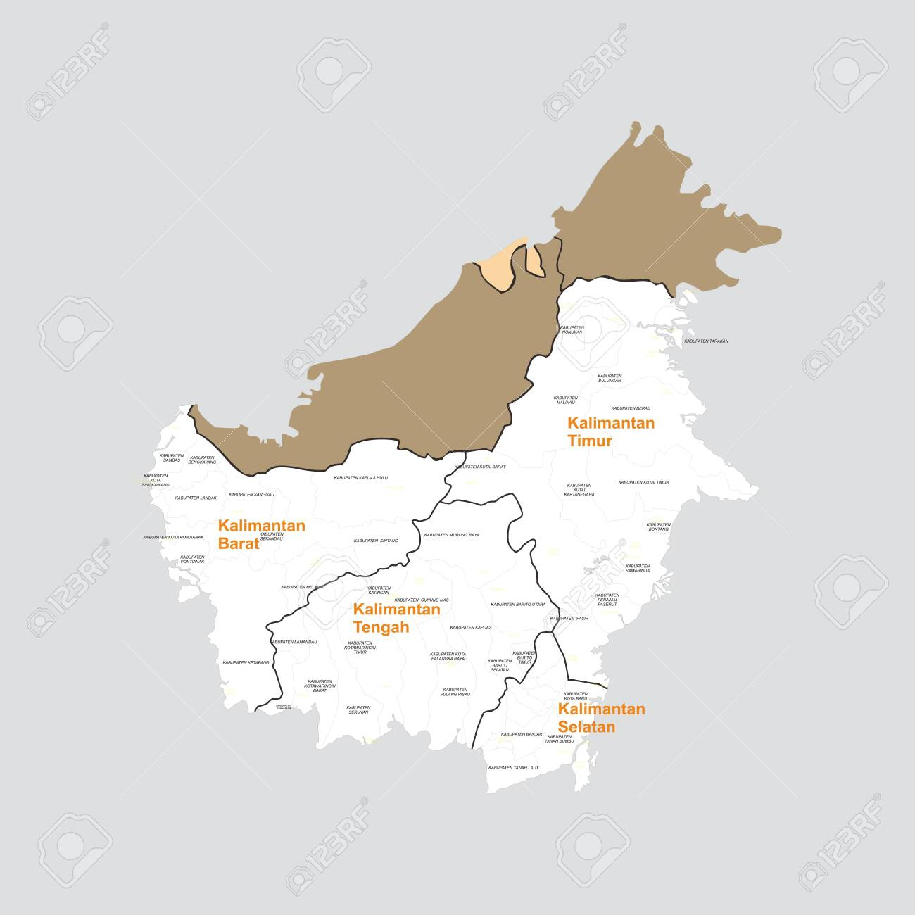Image of: Borneo Kalimantan Big Island Maps Royalty Free Cliparts Vectors And Stock Illustration Image 136291865