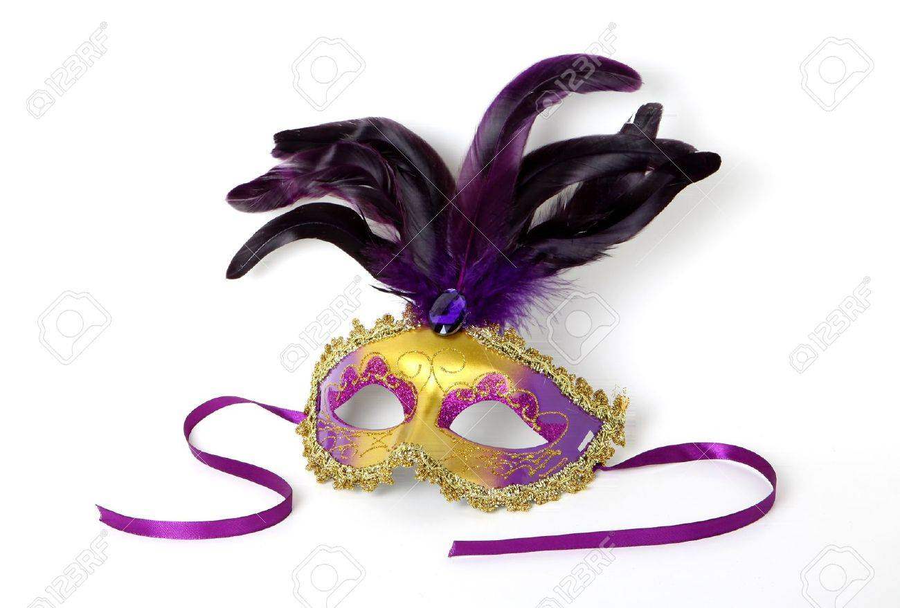 Purple and gold Venetian Mask with ribbon on white background Stock Photo - 14814553