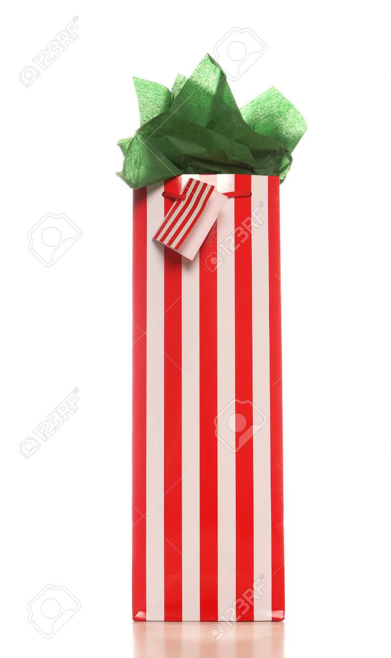 Red And White Striped Christmas Wine Gift Bag With Bright Green ...