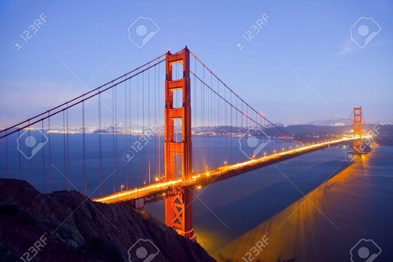 Golden Gate Bridge at Night with San Francisco Skyline, long exposure - 9849137