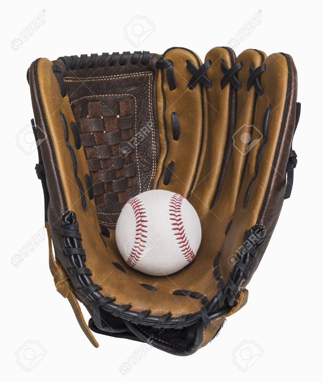 Baseball and baseball glove isolated on white, includes clipping path - 18308416