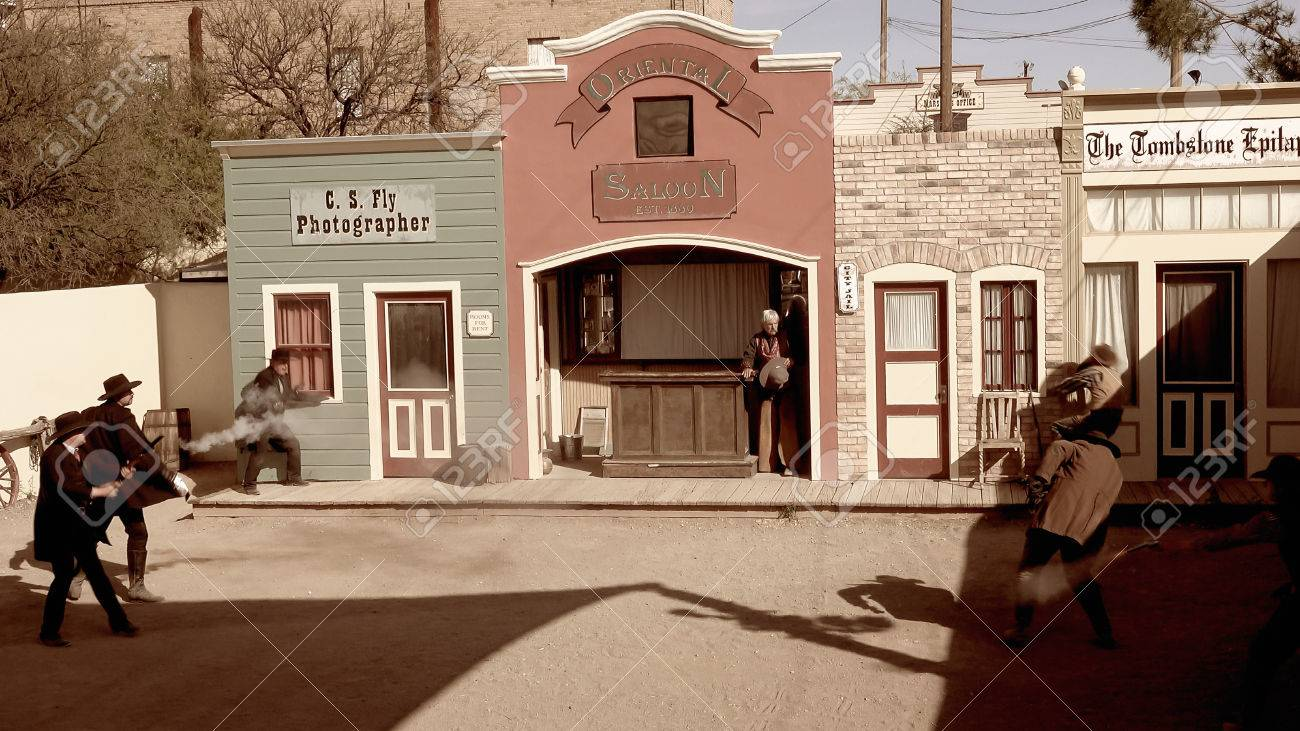Cowboys and gunfighters reenact the shootout at the OK Corral in Tombstone, Arizona - 55061956
