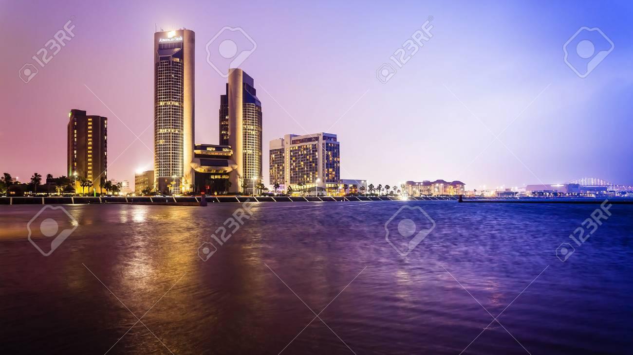 Corpus Christi downtown city skyline at night in Texas - 59008629