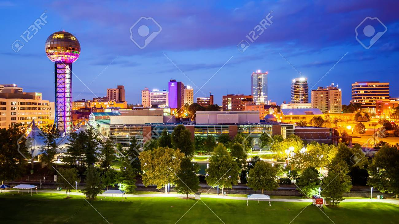 Downtown Knoxville, Tennessee city skyline and city lights at night - 69968519