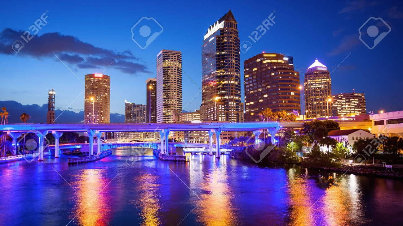 Downtown Tampa, Florida Skyline at night, building logos blurred for commercial use - 69968520