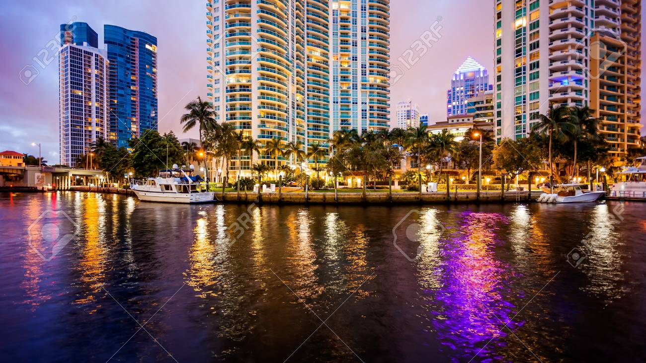 Fort Lauderdale skyline at night along New River - 69968521