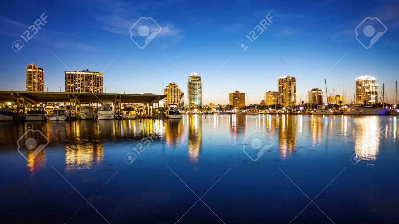 St. Petersburg, Florida skyline and marina cityscape as night falls - 69968584