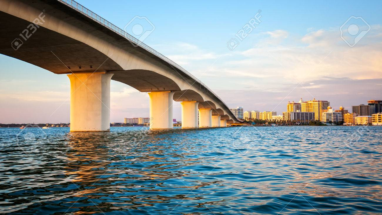City of Sarasota, Florida across elevated bridge and bay - 69968586