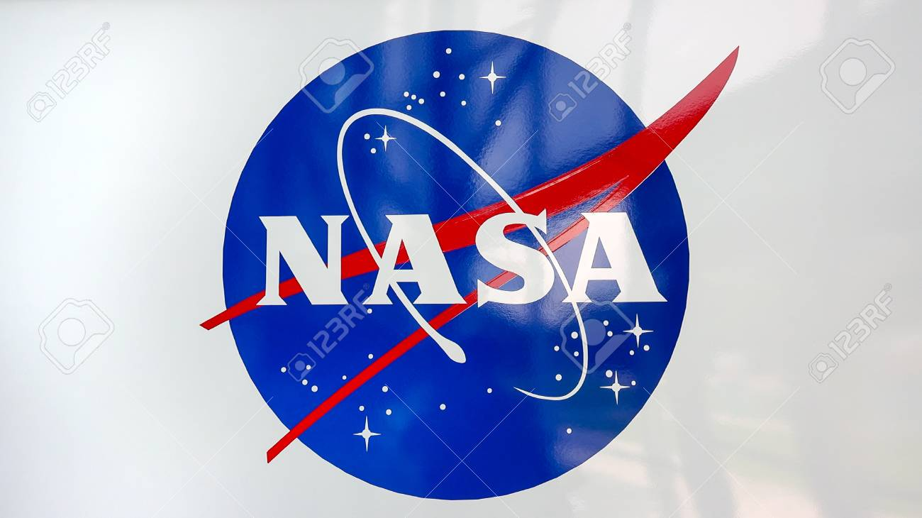 NASA emblem at the Kennedy Space Center Visitors Complex in Cape Canaveral, Florida - 85376613