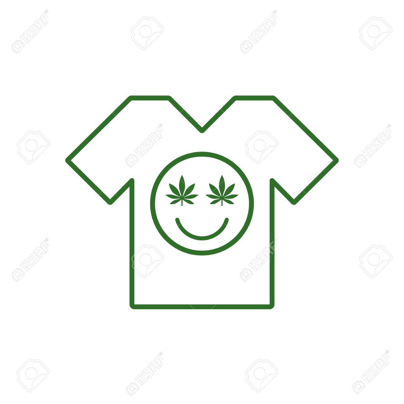 Marijuana Smiley Face Cannabis Smile White Tee Shirt Smiling Royalty Free Cliparts Vectors And Stock Illustration Image 97109402