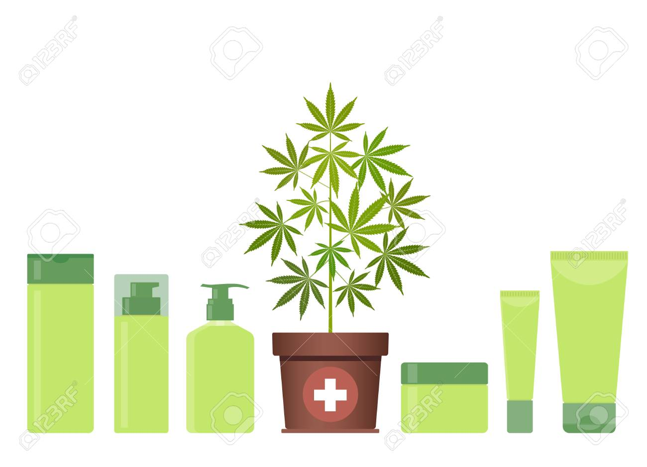 Marijuana or cannabis plant in pot with hemp cosmetic products
