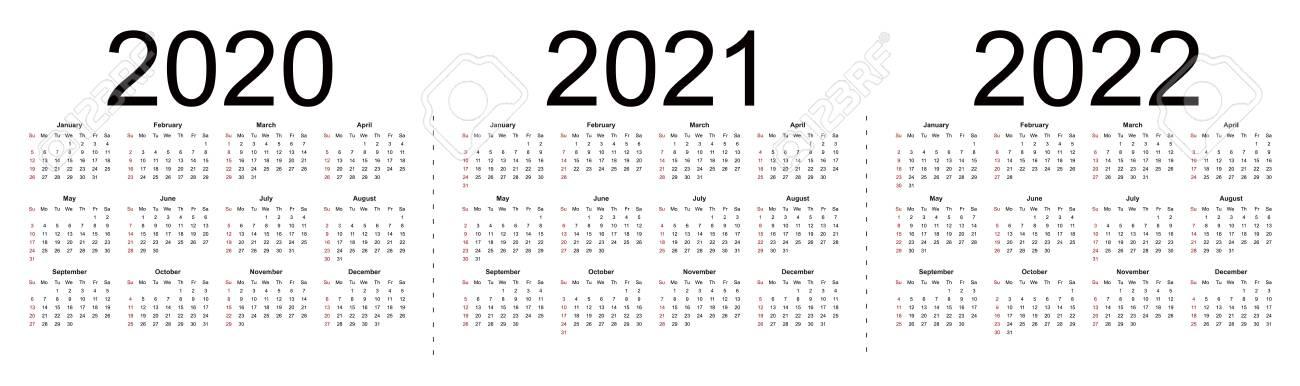 Simple Editable Vector Calendars For Year 2020 2021 2022. Week