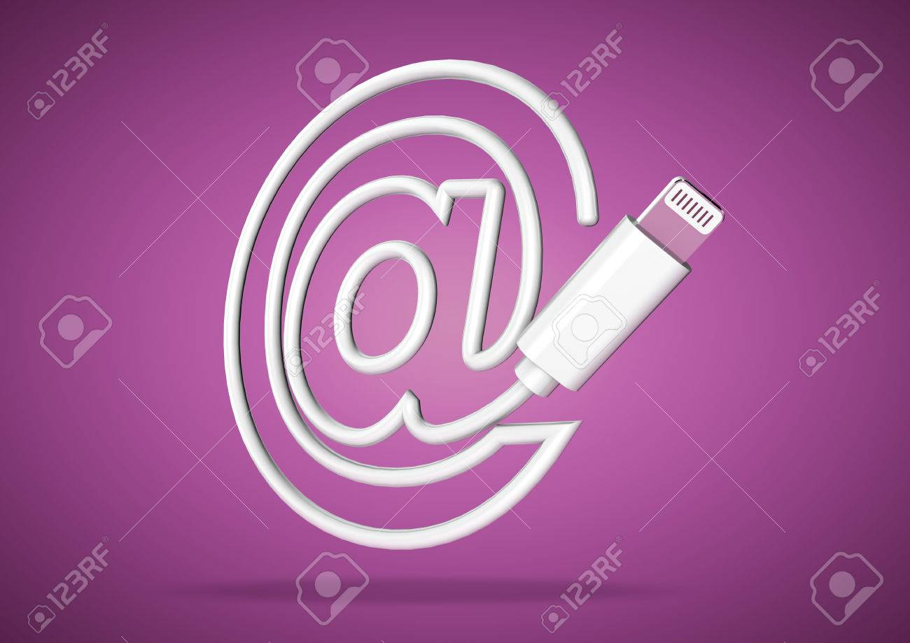 Lightening Computer Cable On Purple Background Forms Symbol Stock