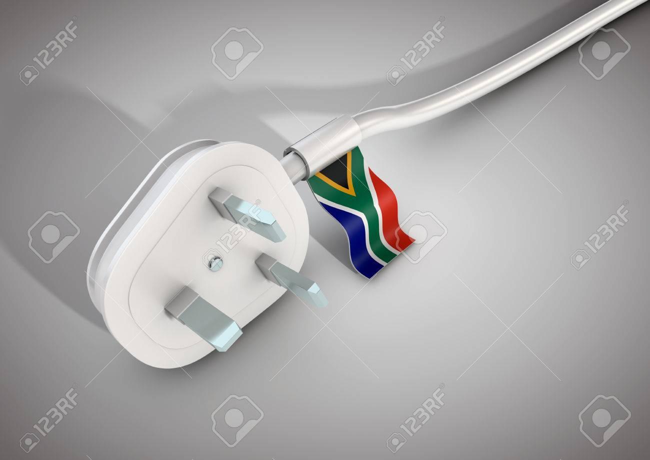Elektrische Stromkabel Und Stecker Mit Dem Südafrikanischen ...