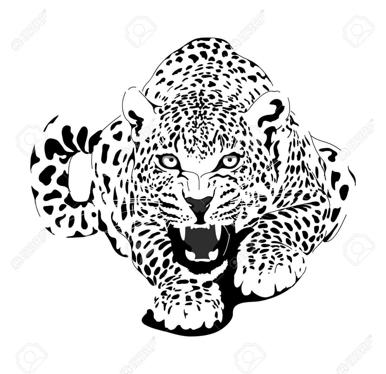Leopard in black interpretation - 90058859