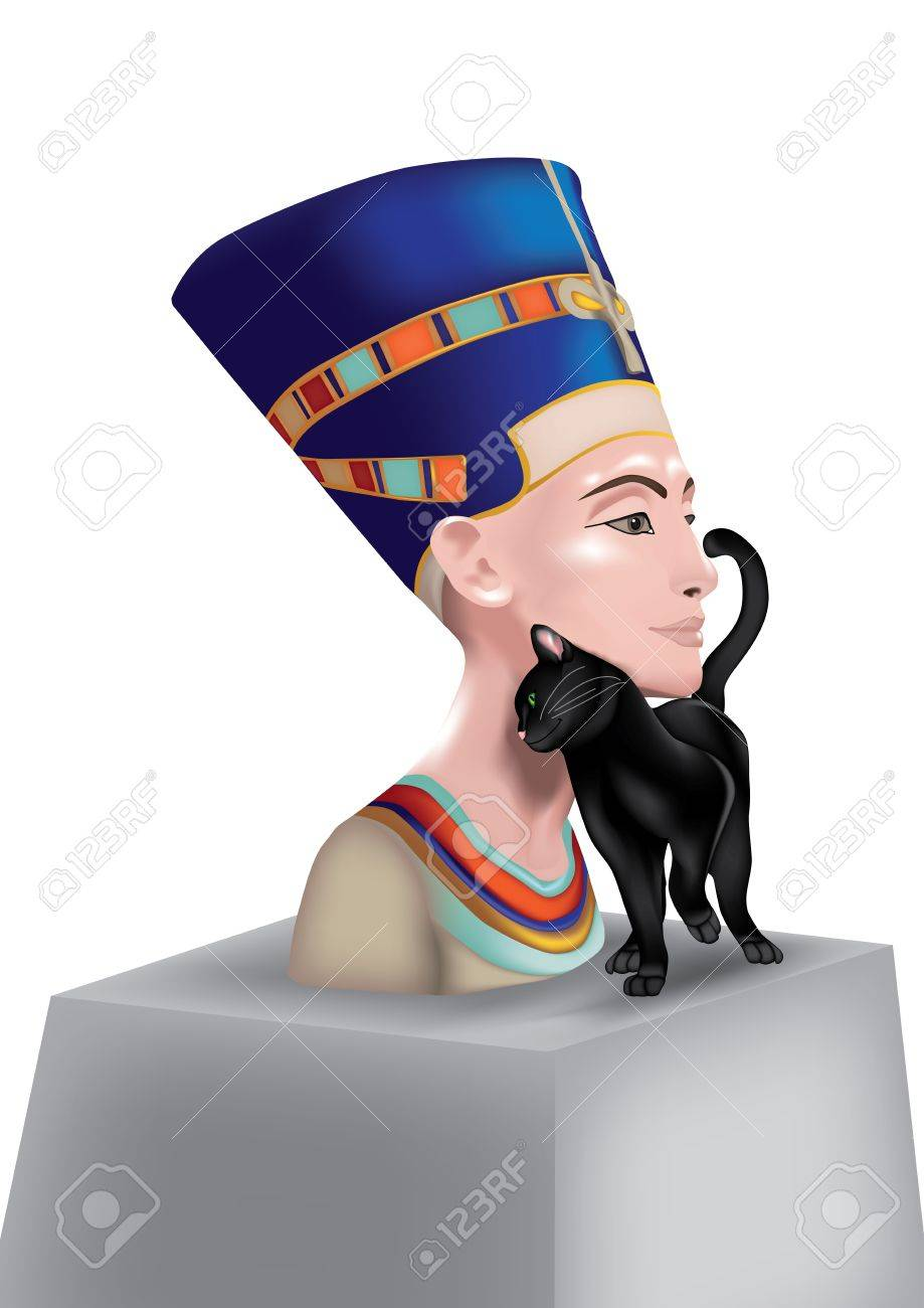Bust Of Nefertiti Queen Of Egypt With Black Cat Which Rubs Royalty