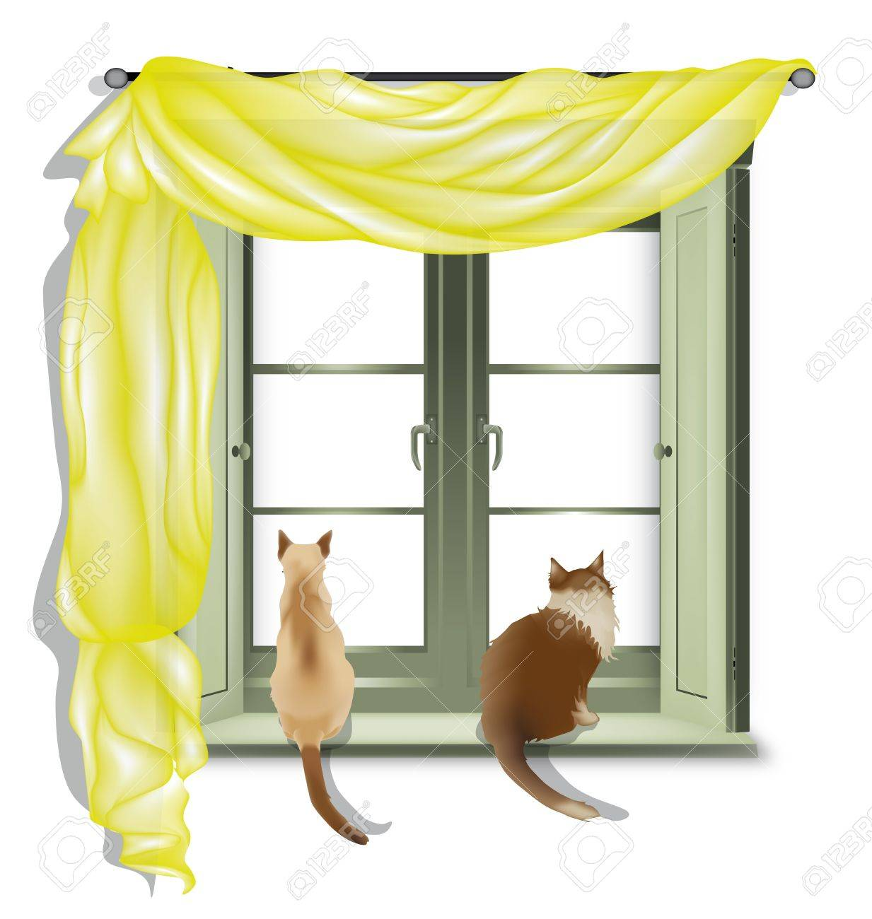 Two cats on inner window sill looking out, isolated on white background Stock Vector - 14163815