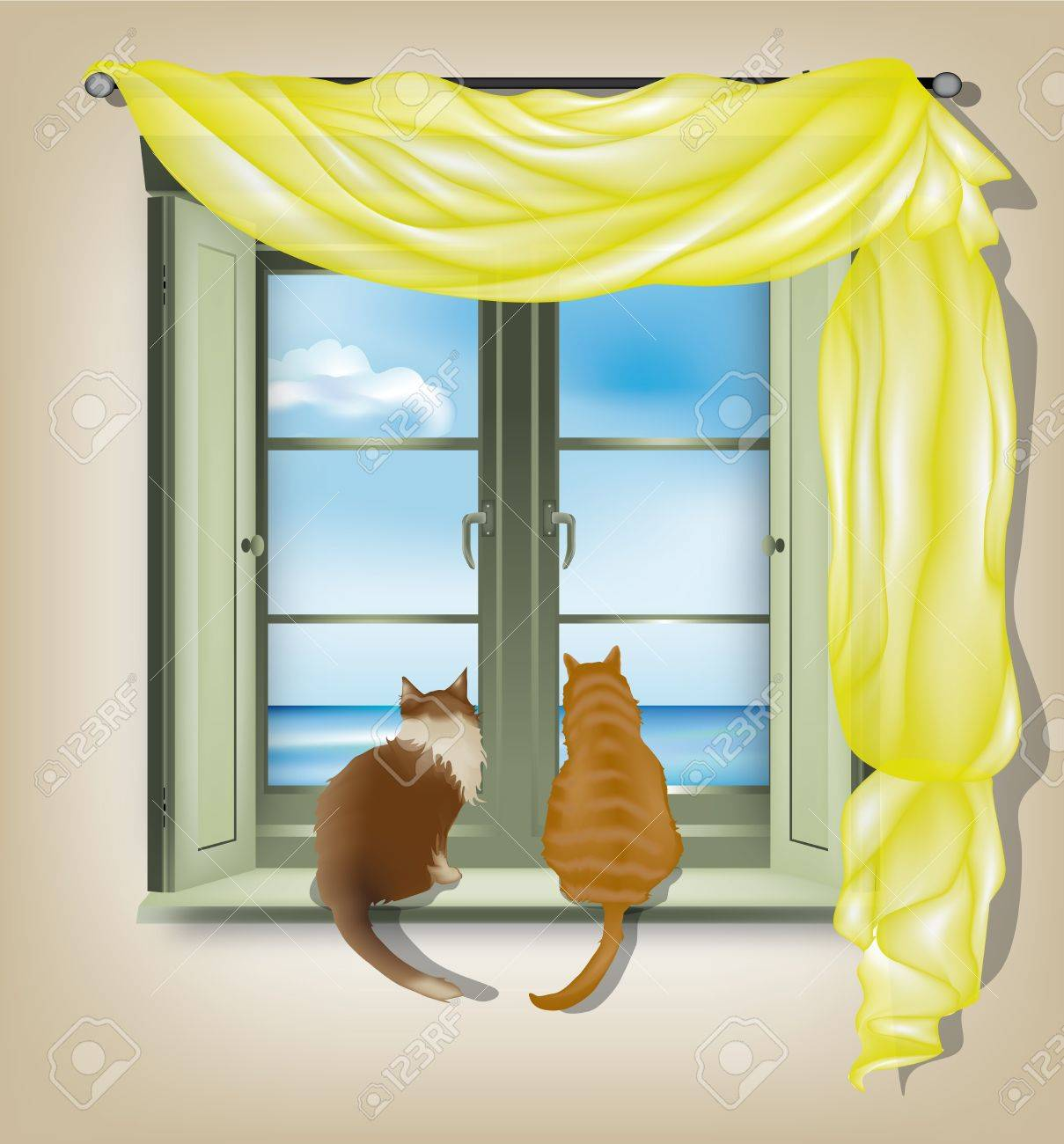 Two cats on inner window sill looking out of marine scene Stock Vector - 14163837