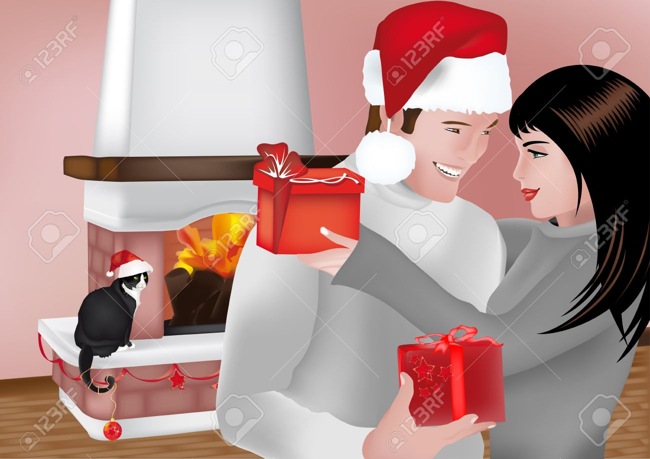 Young couple exchanging gifts front of the fireplace with Christmas cat Stock Vector - 14164207