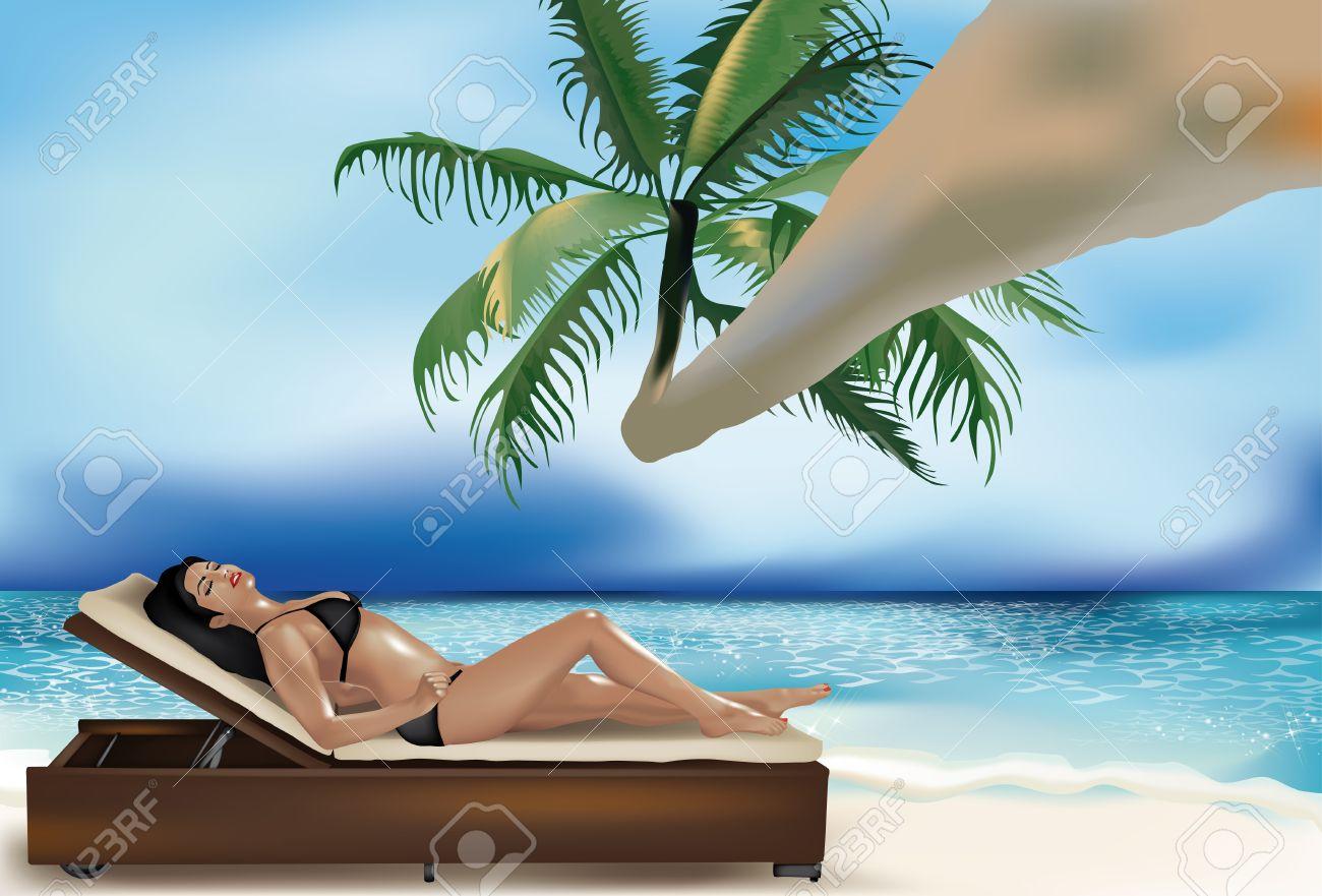 Beautiful girl lying on deckchair on the beach under a palm Stock Vector - 14163868