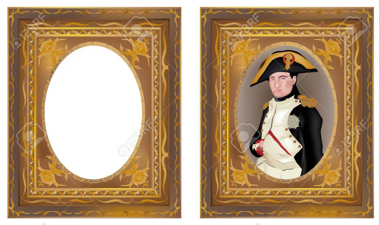 illustration of Napoleon Bonaparte in beautiful frame and isolated frame without content Stock Vector - 14228452