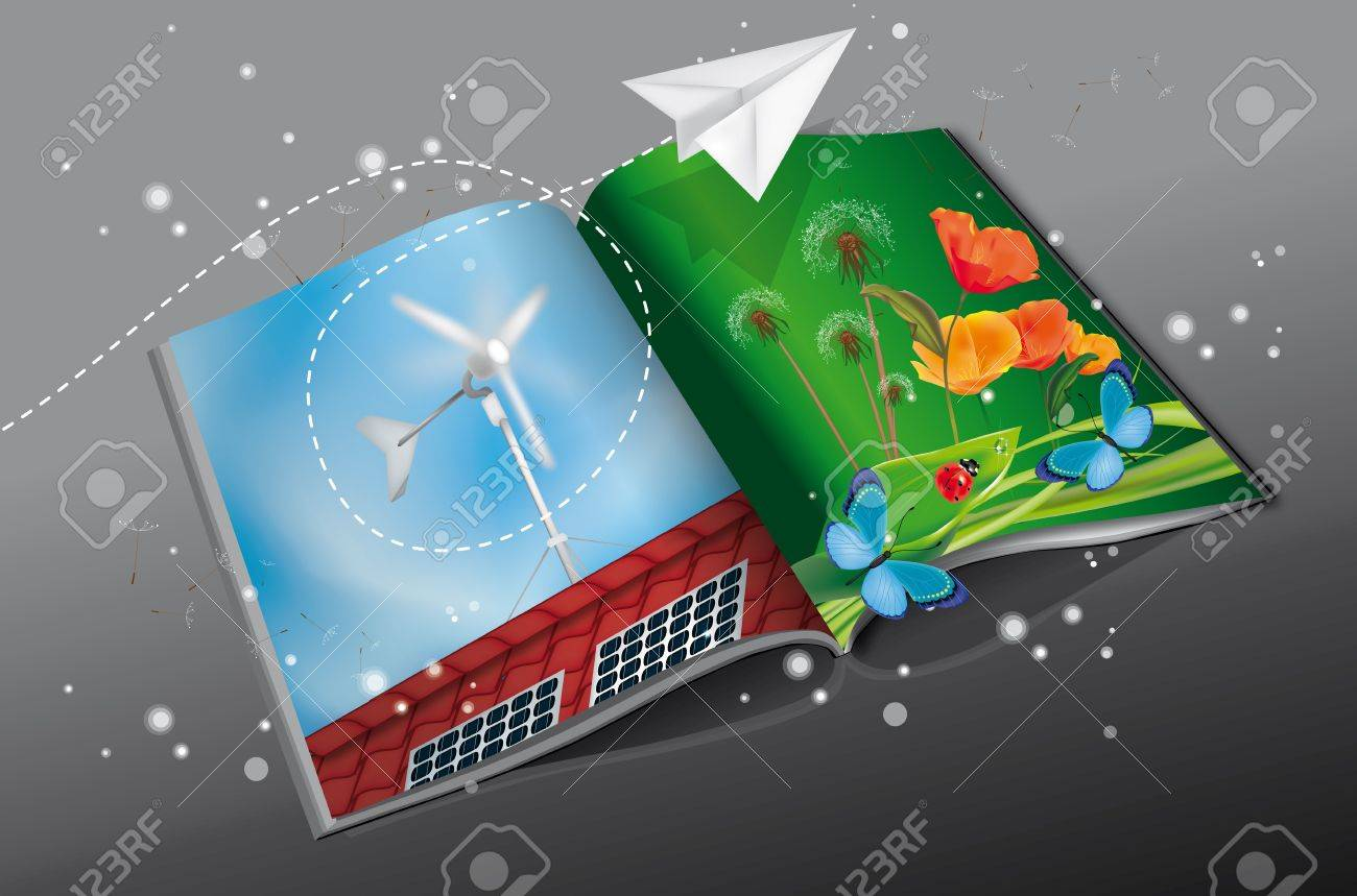Renewable Energy Magazine with solar panel and windmill printed Stock Vector - 14228654