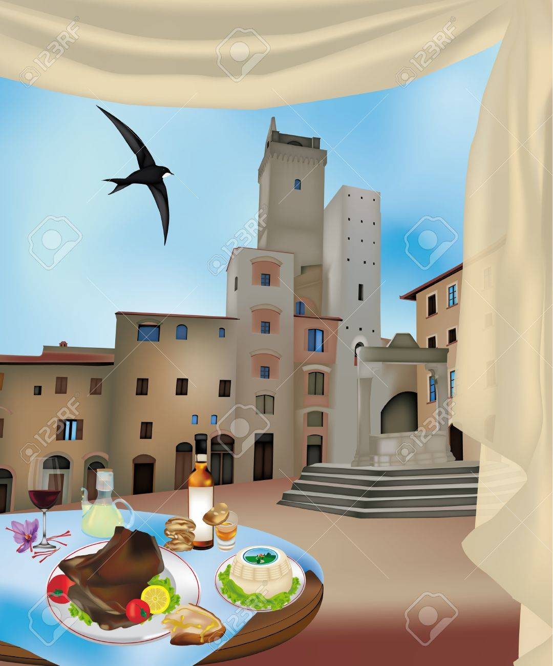 View of San Gimignano, Siena, Italy and typical Tuscan products Stock Vector - 14228639