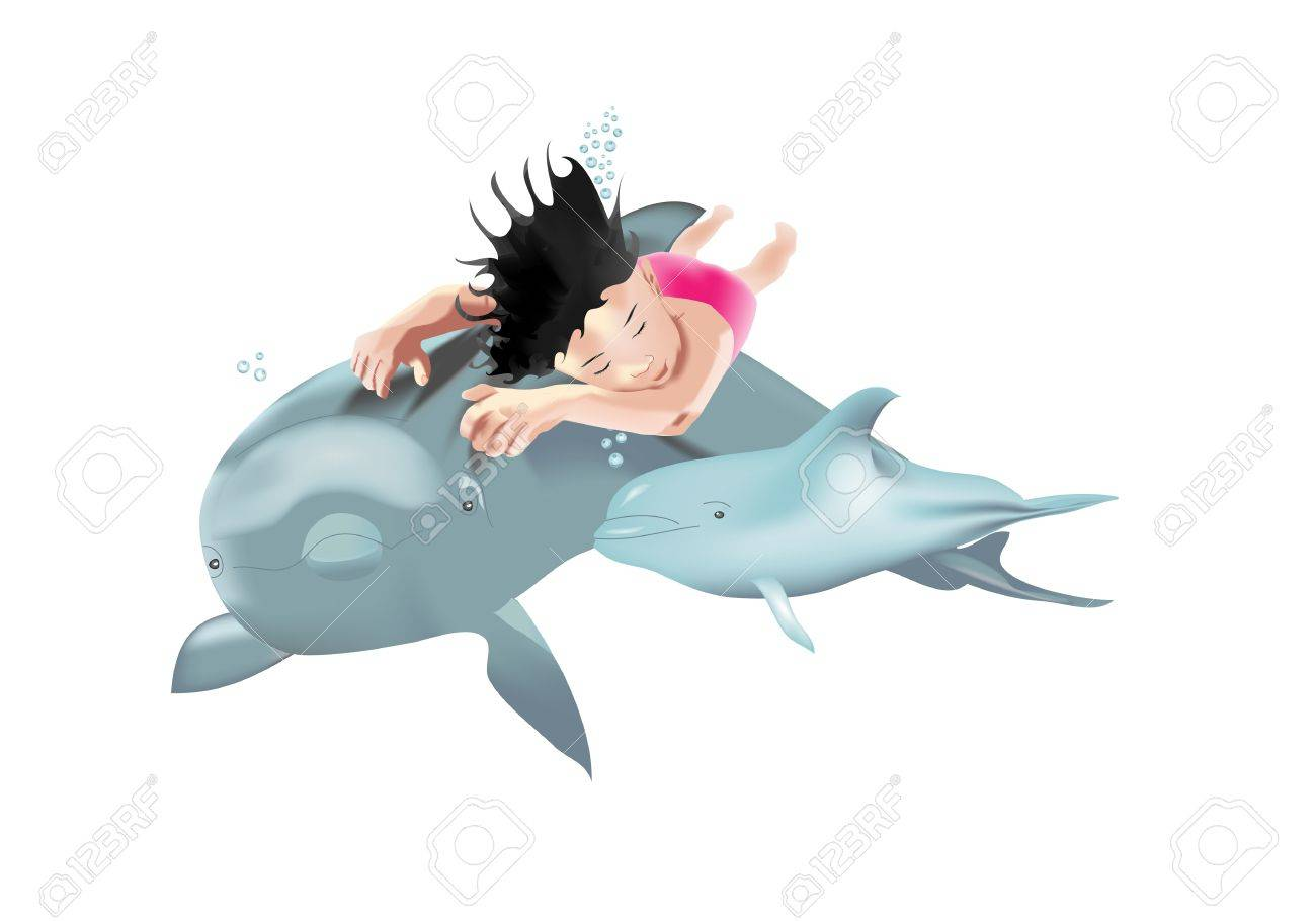 Swimming child with dolphins isolated on white background Stock Vector - 14228556