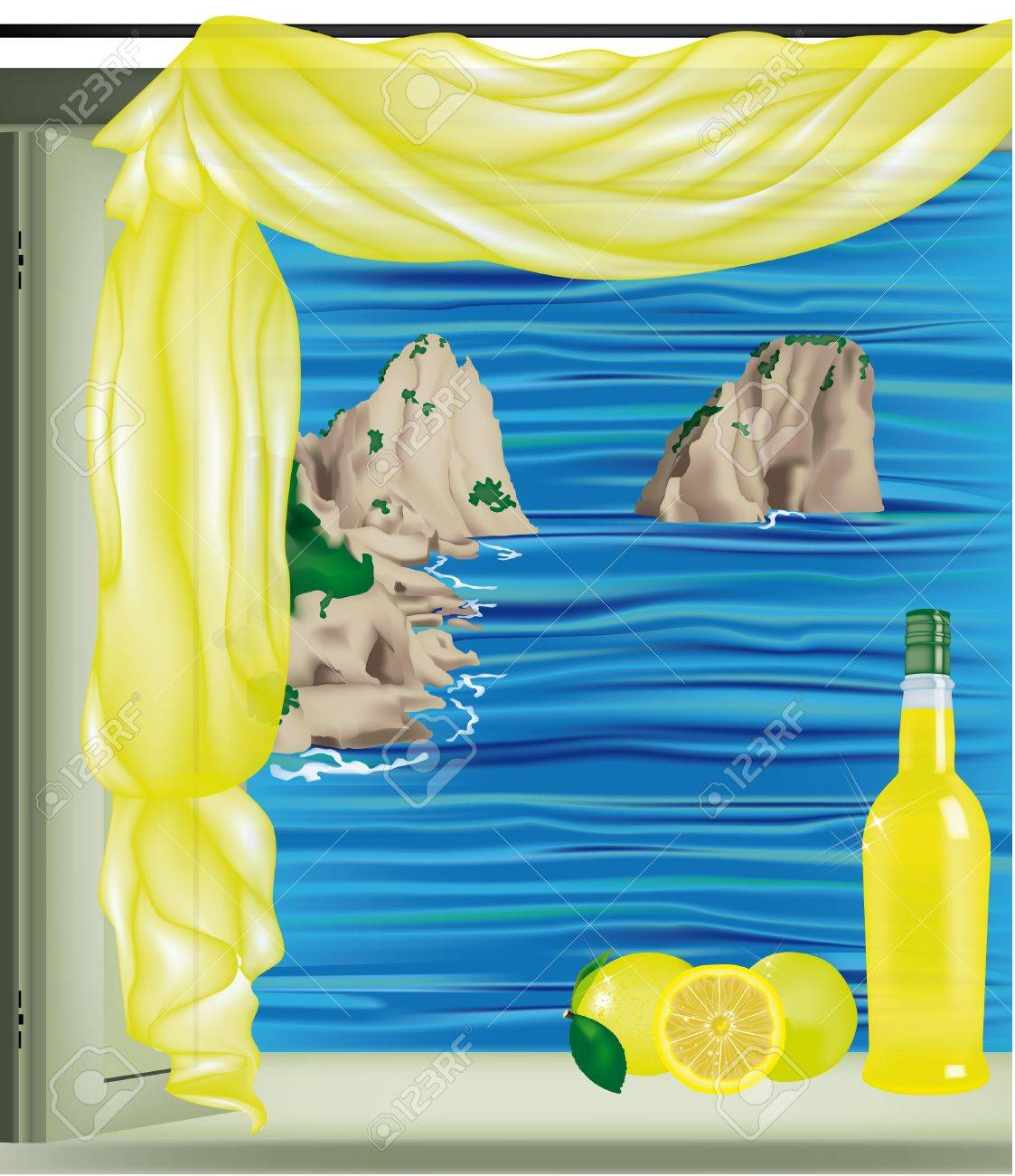 Window on Capri Bay with Faraglioni and Limoncello bottle on the sill Stock Vector - 14228613
