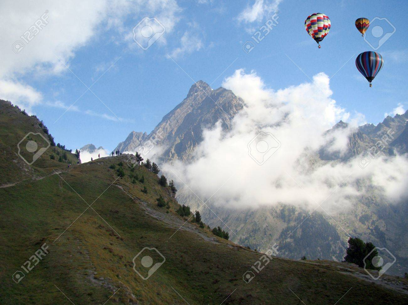 Hot-air Balloons over the Monviso Mount in the Alps, Piedmont, Italy Stock Photo - 17275103