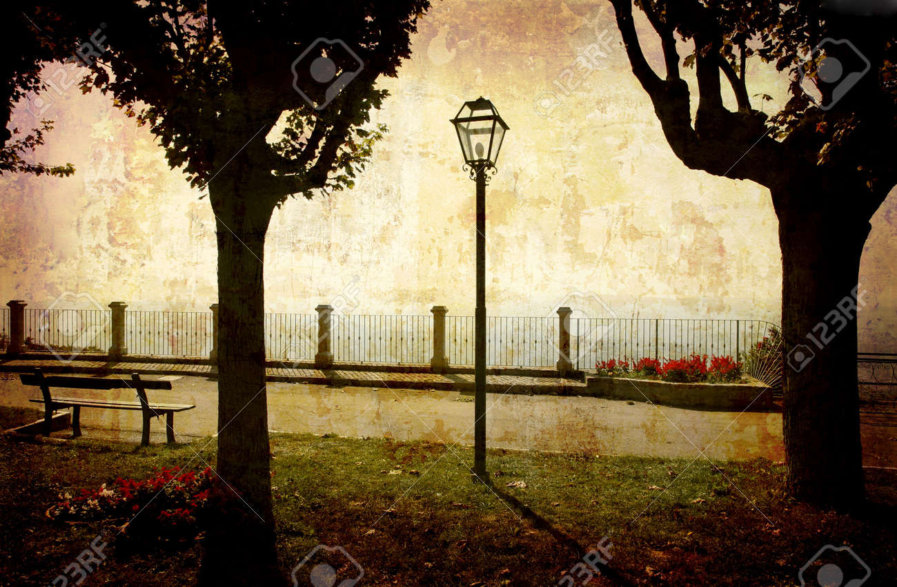 Postcard from Italy. - Park with view, Piedmont. Stock Photo - 1928876