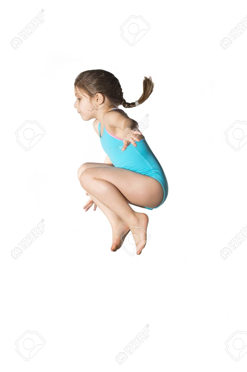 Little caucasian female 7 years old girl in cyan swimming costume