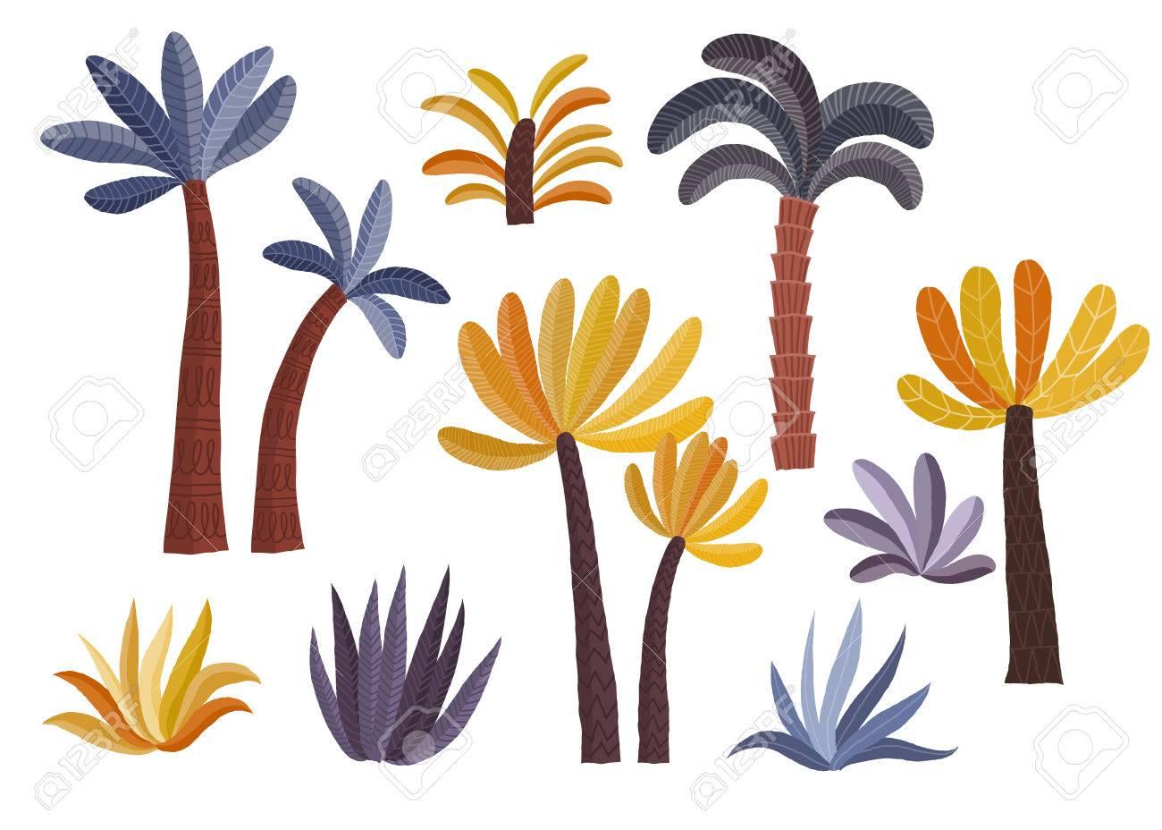 Cartoon Palm Trees Set Stock Vector