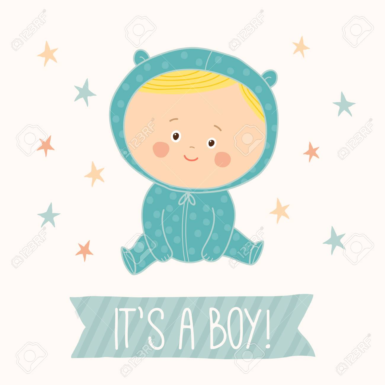 Baby Shower Card For Baby Boy Cute Baby Boy Sitting Blond Toddler