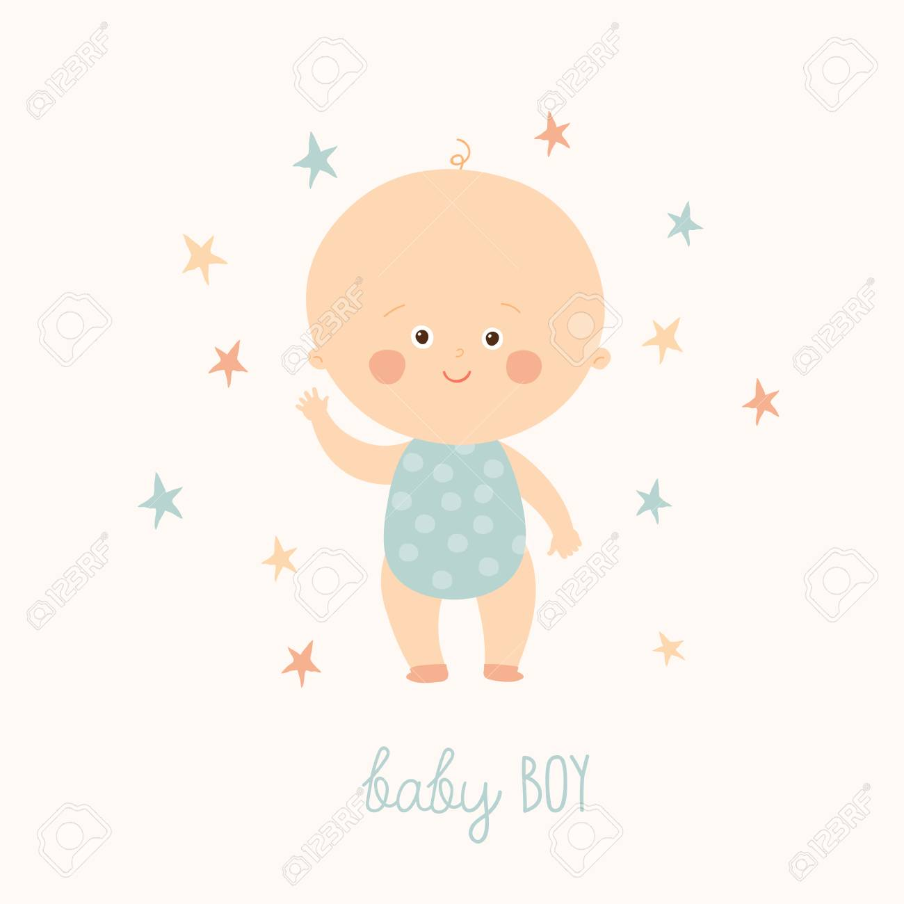 Baby Shower Card For Baby Boy Cute Baby Boy Standing Blond
