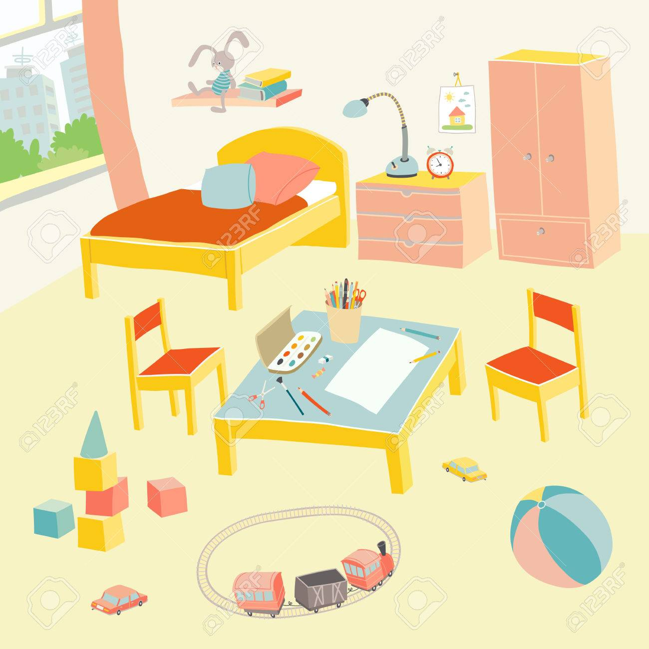 kids play room furniture. Childrens Bedroom Interior With Furniture And Toys. Kids Playroom In Flat Style. Hand Drawn Play Room T