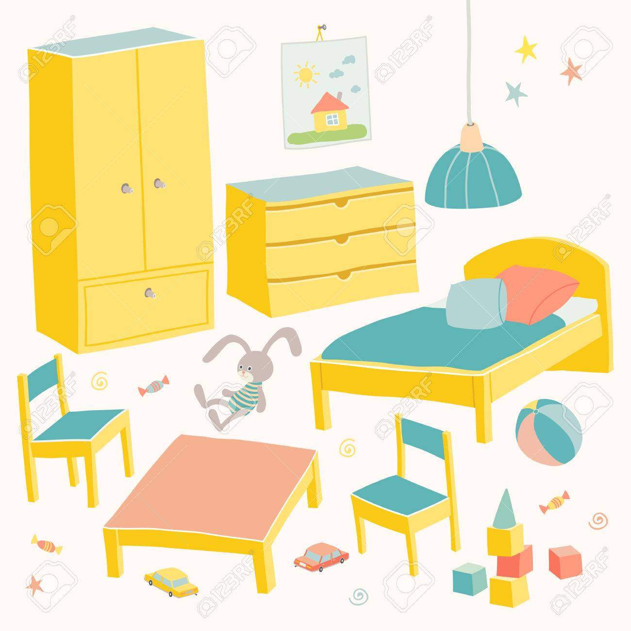 Set Of Furniture For Children Room Kids Small Furniture Bed Royalty Free Cliparts Vectors And Stock Illustration Image 80350999