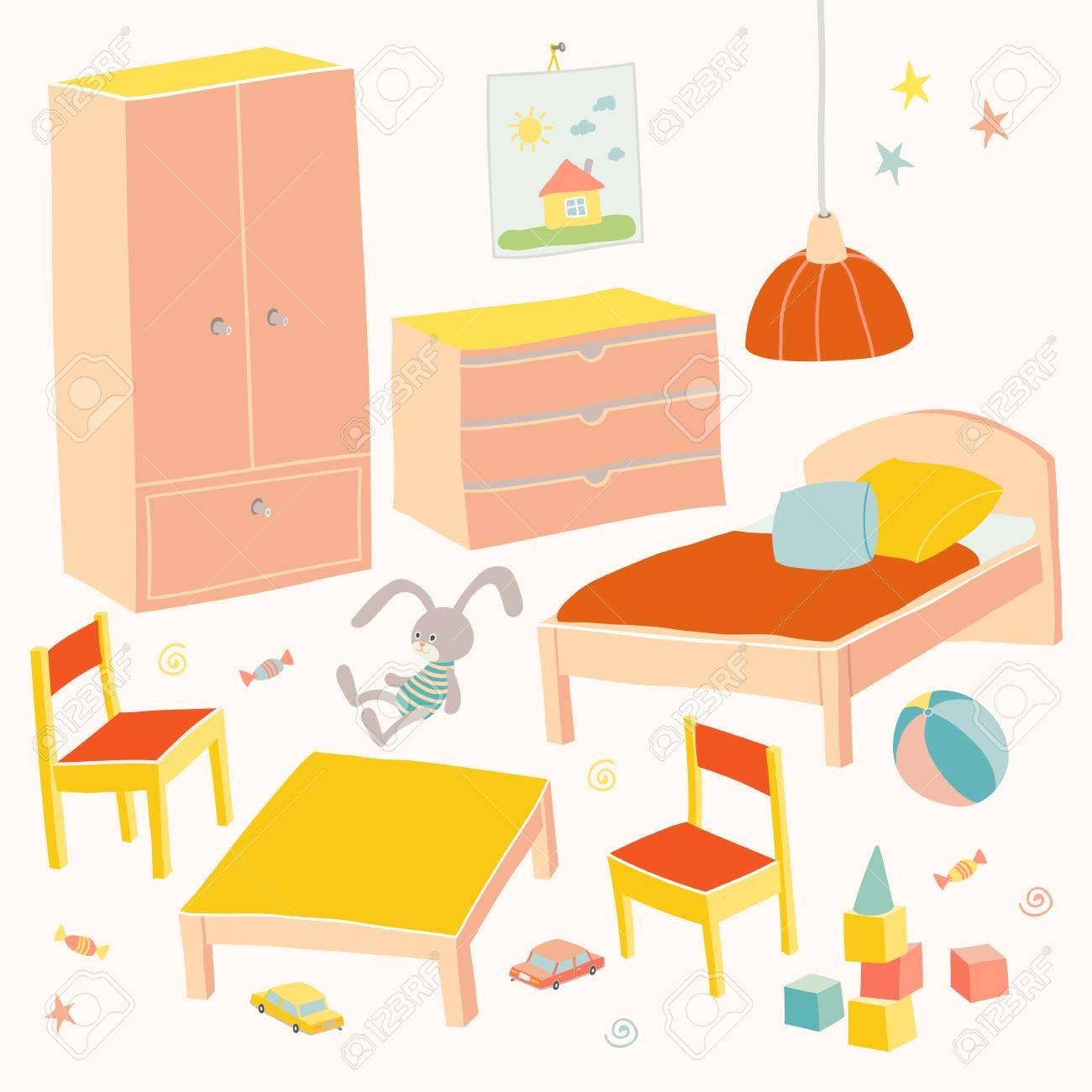 Conjunto De Muebles Para La Habitación De Los Niños. Muebles ...