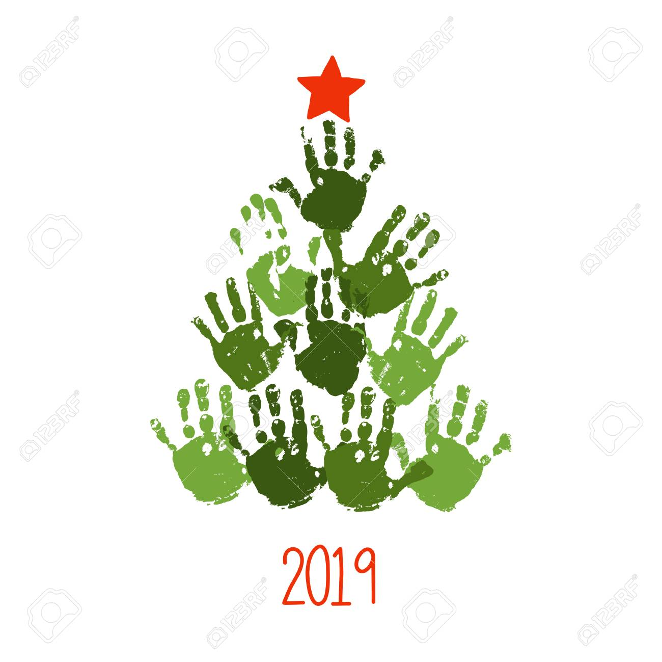 Christmas Tree Cards Designs.Handprint Christmas Tree With Hand Drawn Star Christmas Card
