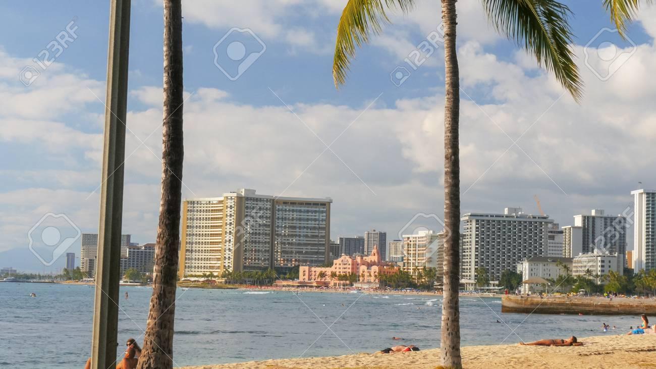 A Long Shot Of Waikiki Beach And The Royal Hawaiian Hotel On