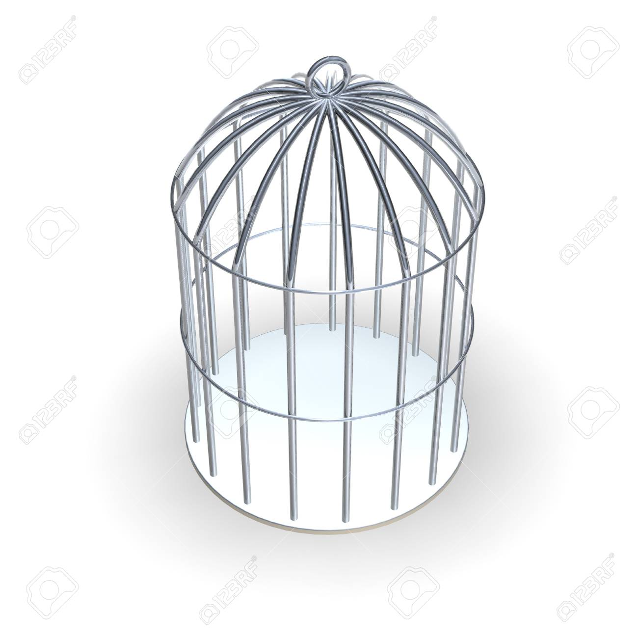 Shiny metallic 3d rendered cage Stock Photo - 520139