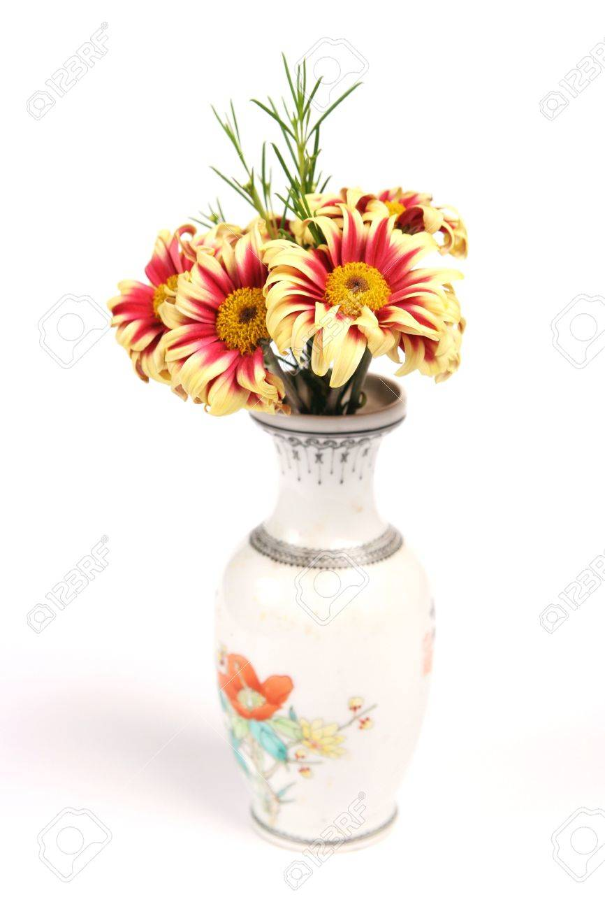 Flowers in floral vase on white Stock Photo - 520071