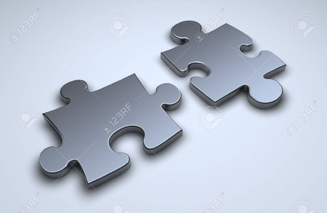 Two 3d puzzle pieces on light blue surface Stock Photo - 520941